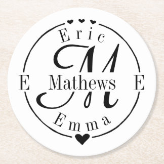 Split Monogram with Names and Initals Round Paper Coaster