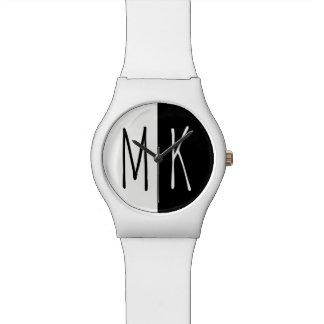 Split Monotone Monogrammed Watch
