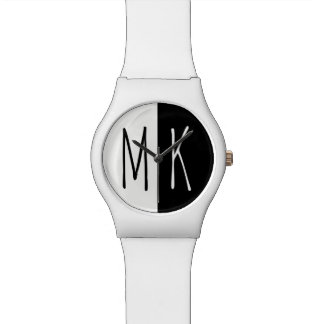 Split Monotone Monogrammed Wrist Watches