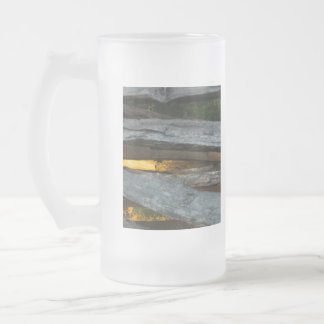 Split Rail Abstract Frosted Glass Beer Mug