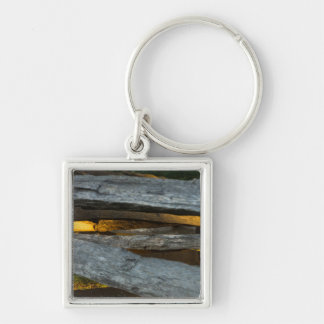 Split Rail Texture Silver-Colored Square Keychain