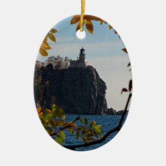 Split Rock Lighthouse in the Fall Ceramic Ornament