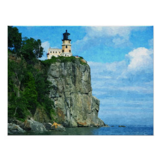 Split Rock Lighthouse- Oil Paint Print