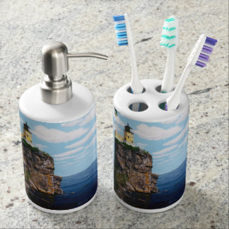 Split Rock Lighthouse Soap Dispenser And Toothbrush Holder