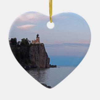 Split Rock Sunset.jpg Ceramic Heart Ornament