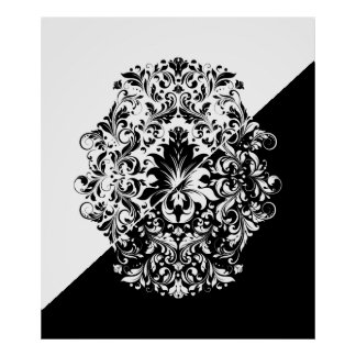Split Screen Black & White Swirls Mandala Poster