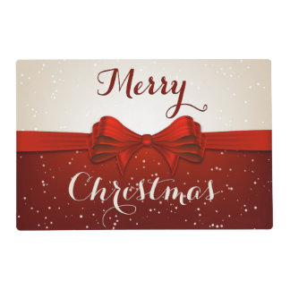 Split Snow and Red Ribbon Laminated Placemat