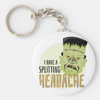 Splitting Headache Basic Round Button Keychain