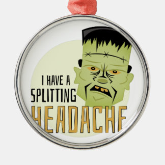 Splitting Headache Silver-Colored Round Ornament
