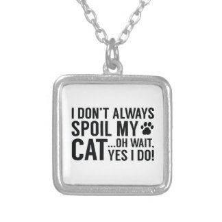 Spoil My Cat Silver Plated Necklace
