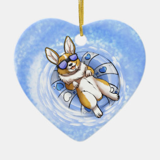 Spoiled Corgi Ceramic Heart Ornament