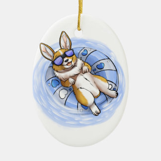 Spoiled Corgi Ceramic Oval Ornament
