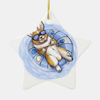 Spoiled Corgi Ceramic Star Ornament