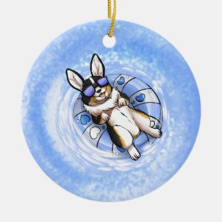 Spoiled Corgi Round Ceramic Ornament