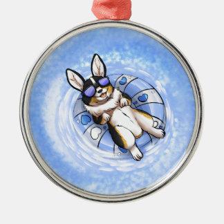 Spoiled Corgi Silver-Colored Round Ornament