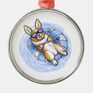 Spoiled Corgi Silver-Colored Round Ornament