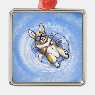 Spoiled Corgi Silver-Colored Square Ornament