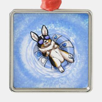 Spoiled Corgi Silver-Colored Square Ornament