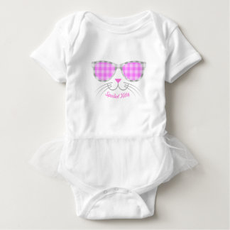 Spoiled Kitty Cat Face in Pink Shades graphic Baby Bodysuit