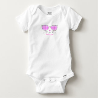 Spoiled Kitty Cat Face in Pink Shades graphic Baby Onesie