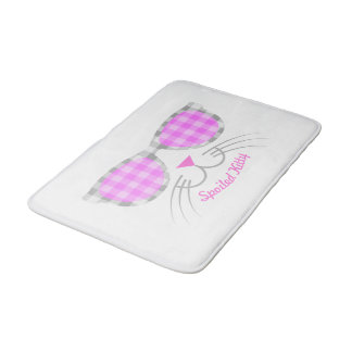 Spoiled Kitty Cat Face in Pink Shades graphic Bath Mat
