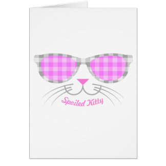 Spoiled Kitty Cat Face in Pink Shades graphic Card