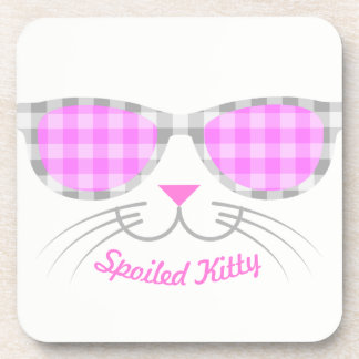 Spoiled Kitty Cat Face in Pink Shades graphic Coaster