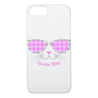 Spoiled Kitty Cat Face in Pink Shades graphic iPhone 8/7 Case