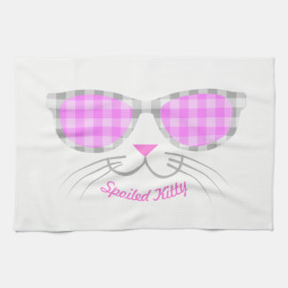Spoiled Kitty Cat Face in Pink Shades graphic Kitchen Towel