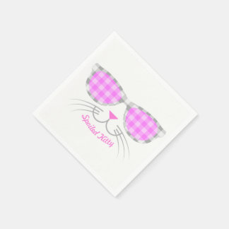 Spoiled Kitty Cat Face in Pink Shades graphic Paper Napkins