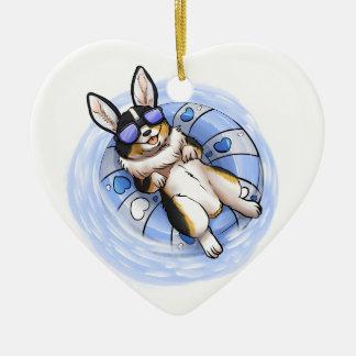 Spoiled Tri Corgi Ceramic Heart Ornament