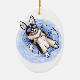 Spoiled Tri Corgi Ceramic Oval Ornament