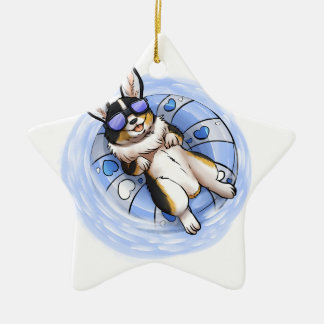 Spoiled Tri Corgi Ceramic Star Ornament