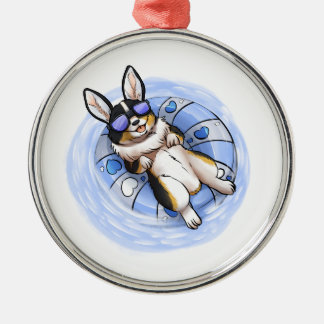 Spoiled Tri Corgi Silver-Colored Round Ornament