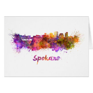 Spokane skyline in watercolor card