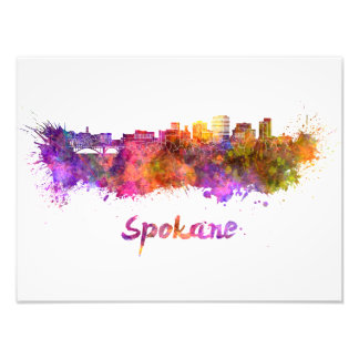 Spokane skyline in watercolor photo print