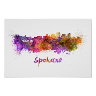Spokane skyline in watercolor poster
