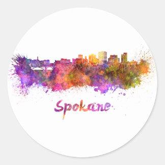 Spokane skyline in watercolor round sticker