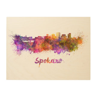 Spokane skyline in watercolor wood print