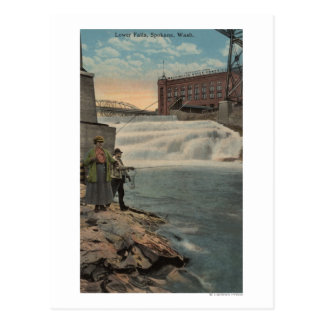 Spokane, WA - Couple Fishing on Lower Falls Postcard