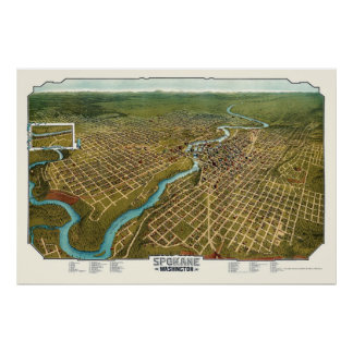 Spokane, WA Panoramic Map - 1905 Poster