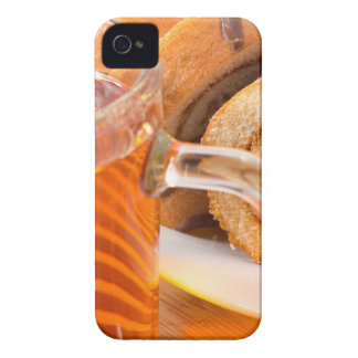 Sponge cake with chocolate filling and tea iPhone 4 case