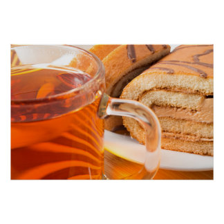 Sponge cake with chocolate filling and tea poster