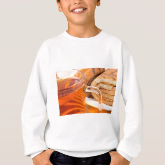 Sponge cake with chocolate filling and tea sweatshirt