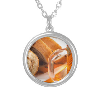 Sponge cake with chocolate filling silver plated necklace
