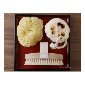 Sponge, loofah, brush on red tray postcard