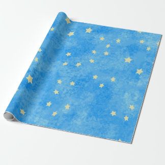 sponged blue stars wrapping paper