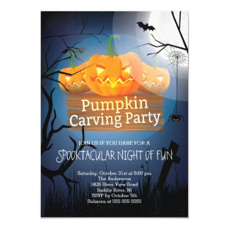 Spooktacular Fun Pumpkin Carving Party Halloween Card