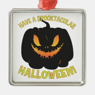 Spooktacular Halloween Silver-Colored Square Ornament
