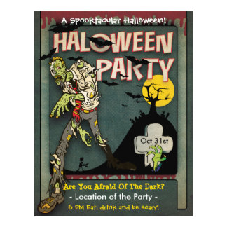 Spooktacular Halloween Zombie Party Personalized Flyer